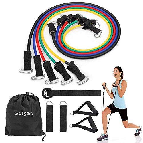 Solgan Resistance Band Set, Workout Bands Include 5 Levels Exercise Bands, with Door Anchor, Foam Handles, Ankle Straps and Carrying Bag, for Resistance Training, Physical Therapy, Home Workouts