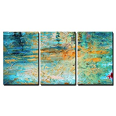 3 Piece Canvas Wall Art - Abstract Oil Paint Texture on Canvas - Modern Home Art Stretched and Framed Ready to Hang - 24