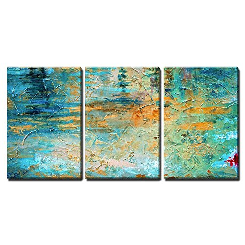 wall26  3 Piece Canvas Wall Art  Abstract Oil Paint Texture on Canvas  Modern Home Decor Stretched and Framed Ready to Hang  24quotx36quotx3 Panels