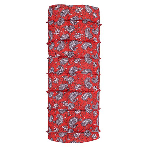 Autofy Unisex Printed Lycra Headwrap for Bikes (Red and White, Free Size)