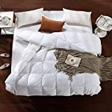featured product AIKOFUL Goose Down Comforter King Size,Solid White Duvet Insert,White Goose Down Comforter, 1200TC 700Fill Power Cotton Fabric, Double Edge Gray Piping, Hypoallergenic