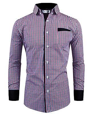 Tom's Ware Mens Premium Slim Fit Checkered Plaid Cotton Longsleeve Shirt