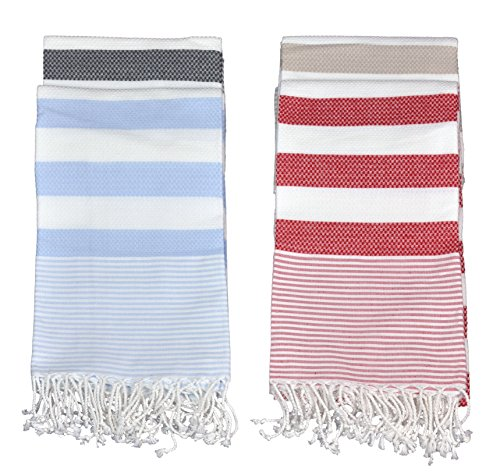 Brielle Stripes Pestemal - Turkish Bath Towel, 100% Cotton, 37 x 70, Red -  - bathroom-linens, bathroom, bath-towels - 51uODGhztfL -