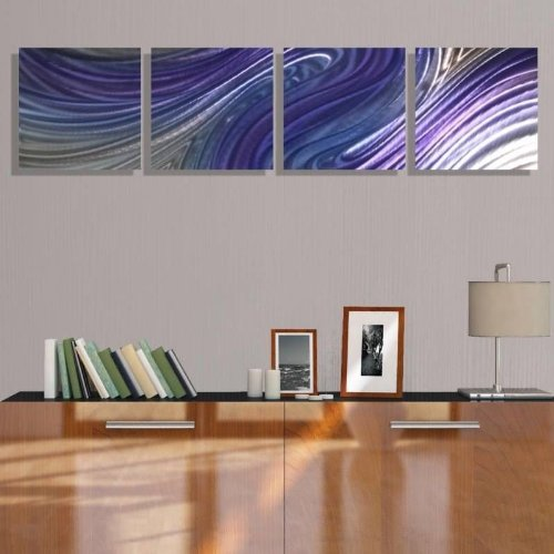 Abstract Modern Silver and Purple Colorful Hand-Painted Wall Sculpture - Contemporary Home Office Decor Art Painting Accents - Paranormal by Jon Allen by Statements2000