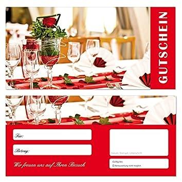 19ff216dda 100 Stück Geschenkgutscheine (Gedeck-702) Gutscheine Gutscheinkarten für  Bereiche wie Gastronomie Restaurant Feiern