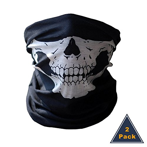 heartybay 2 Pack Skull Face Tube Mask Premium Motorcycle Couples Seamless Half Face Mask Out Riding Motorcycle Black