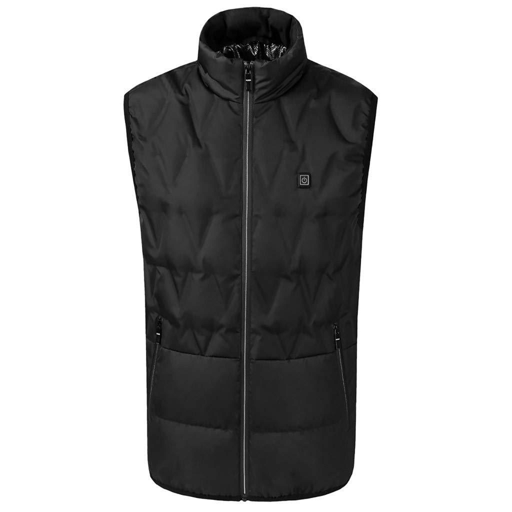 Men's Heated Vest for Outdoor Hiking Camping Rechargeable USB Battery Winter Warm Jacket Waistcoat (XL, Black) by Moxiu Men's Coat