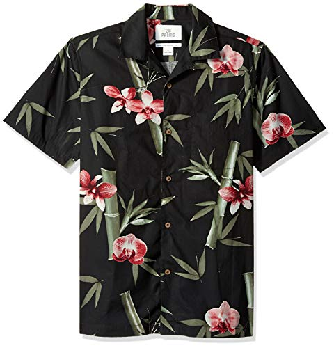 Orchid Tropical Print - 28 Palms Men's Standard-Fit 100% Cotton Tropical Hawaiian Shirt, Black/Pink Bamboo Orchid X-Small
