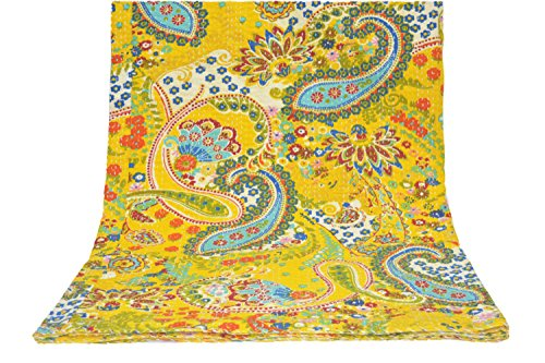 AmazingIndiancrafts Yellow Multicolor Paisley Print Queen Size Kantha Quilt, Kantha Blanket, Bed Cover, King Kantha Bedspread, Bohemian Bedding 90x108 Inch