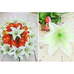 HZOnline Artificial Silk Flower Head Lilies, Tiger Lily Heads Decor Bridal Bouquet Wreath Headwear Clip DIY Accessories Wedding Home Party Garden Decoration (20pcs White) 4