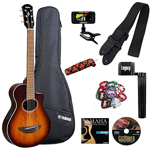 Yamaha APXT2EW Exotic Wood 3/4 Size Thinline Acoustic-Electric Cutaway Guitar with Legacy Accessory Bundle, Many (Body Electric Guitar Tobacco Sunburst)