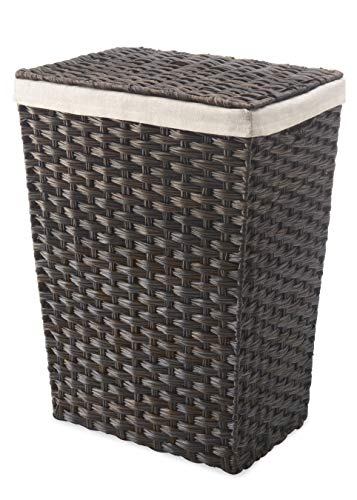 - Whitmor Rattique Laundry Hamper with Lid and Removable Liner - Espresso