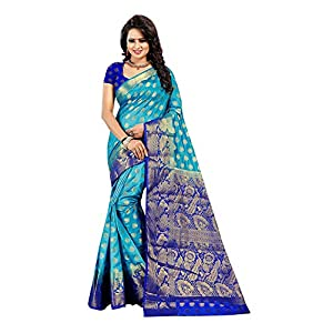 Dealsure Women's Multicolor Banarasi Saree with Blouse Piece.