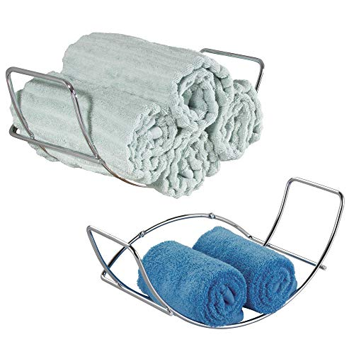 mDesign Modern Decorative Metal Bathroom Wall Mount Towel Rack Organizer for Storage of Bath Sheets, Washcloths, Hand or Face Towels - 2 Pack - Chrome