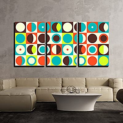 3 Piece Canvas Wall Art - Vector - Geometric Abstract Seamless Pattern. Retro 60s Style and Colors - Modern Home Art Stretched and Framed Ready to Hang - 24