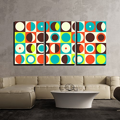 wall26 - 3 Piece Canvas Wall Art - Vector - Geometric Abstract Seamless Pattern. Retro 60s Style and Colors - Modern Home Decor Stretched and Framed Ready to Hang - 24