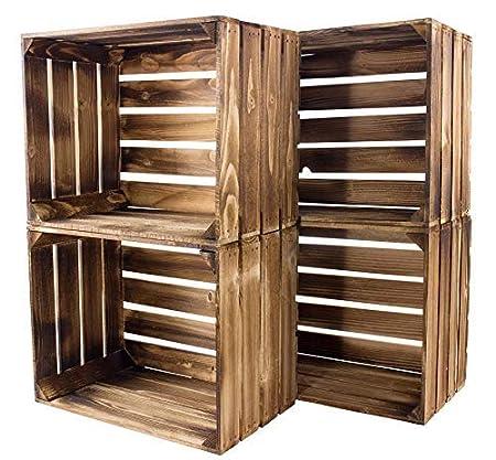 Kontorei/® geflammte//braune Apfelkisten 50cm x 40cm x 30cm 1er Set Holzkisten Weinkisten Obstkiste Kiste Box