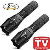 Tactical Flashlight, Wowlite XML T6 Ultra Bright Cree LED Taclight As Seen On Tv with 5 Light Modes & Adjustable focus, Bike Mount Holder, Belt Holster - Best For Camping, Security, Emergency (2-pack)