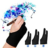 LUCKSTAR Artist Glove Pack of 2 - Anti-fouling Drawing Glove Graphic Drawing Tablet 2-Fingers Glove Artist Gloves for Light Box/Graphic Tablet/Pen Display/iPad Pro Pencil (M)