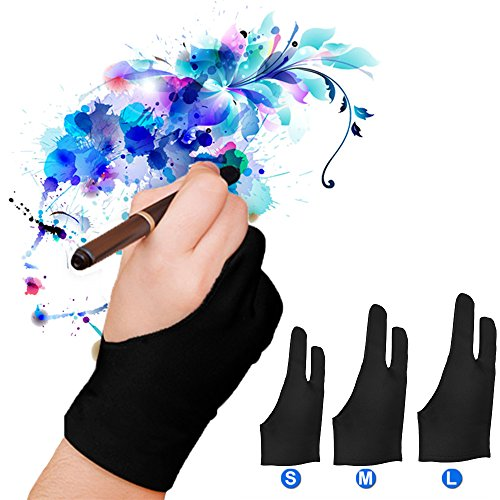 Price comparison product image LUCKSTAR Artist Glove Pack of 2 - Anti-fouling Drawing Glove Graphic Drawing Tablet 2-Fingers Glove Artist Gloves for Light Box/Graphic Tablet/Pen Display/iPad Pro Pencil (S)