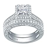 Newshe Woman 1.5ct Princess White AAA Cz 925 Sterling Silver Wedding Engagement Ring Set Size 7