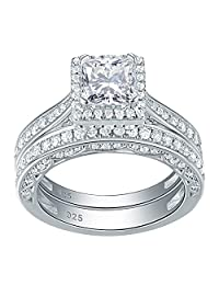 Newshe 2ct Princess Cut White Cz 925 Sterling Silver Wedding Band Engagement Ring Set Size 5-10