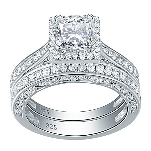 Newshe Engagement Wedding Ring Set for Women 925 Sterling Silver 1.5ct Princess White AAA Cz Size 5 14k White Gold Six Prong
