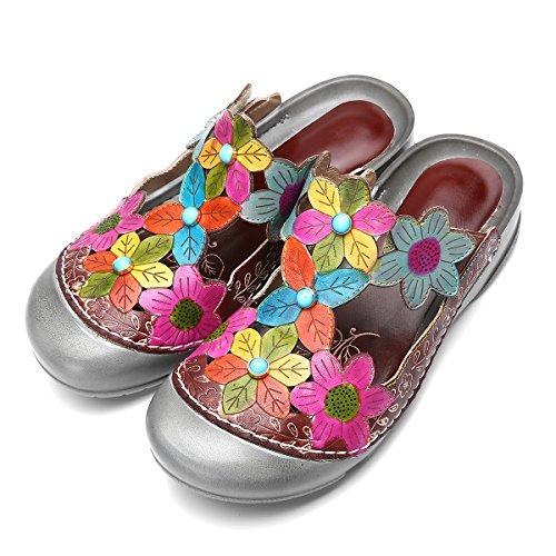 Pieds Eu Foncé Été Talons Chaussures Larges design Antiderapant Gracosy Confortable Gris À Original Plats Femmes Fleurs 43 ga8n6q