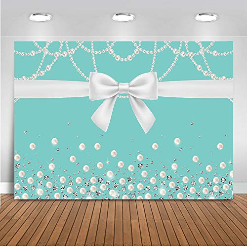 Mehofoto Breakfast Blue Bow-Knot Pearl Backdrop Sweet 16 Bridal Shower Photography Background 7x5ft Vinyl Bridal Wedding Birthday Party Banner Backdrops