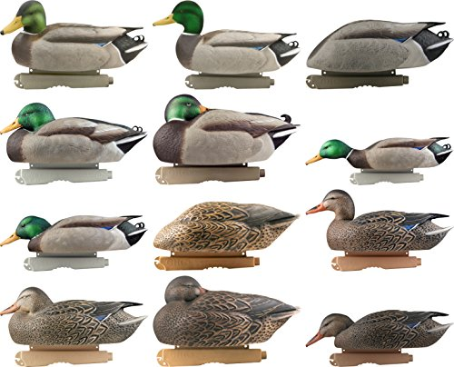 Pro-Grade Duck Decoy,Mallards/Harvester Pack w/flocked drake heads,Dozen (Flocked Duck)