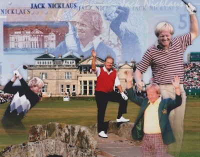 Jack Nicklaus Unsigned Golf 8x10 inch Collage ()