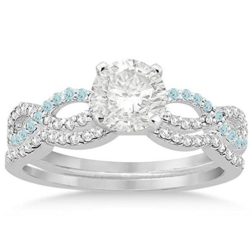 Infinity Twist Diamond and Aquamarine Engagement Ring and Diamond Contour Wedding Band Platinum (0.34ct) -