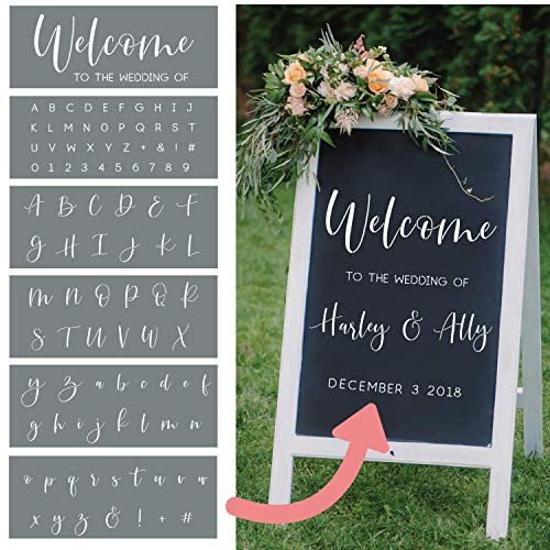 I like that lamp Wedding Stencils - Set of 6 Reusable Alphabet Stencils for Making Custom DIY Wedding Decorations - Easy Wedding Letter Stencils in a Modern Script Stencil Font -