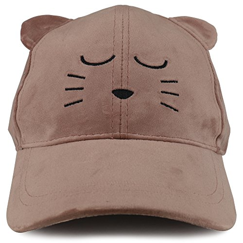 Trendy Apparel Shop Cat Face Embroidered With Cat Ear Velvet Costume Baseball Cap - Blush