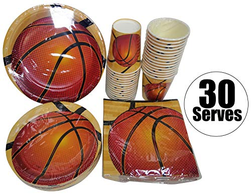 Basketball Theme Party Supplies (Serves 30 | Complete Party Pack | Basketball | 9