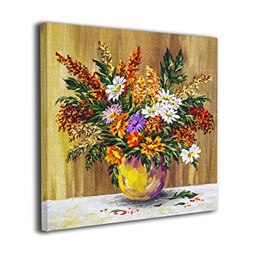 (Maxwellmore Bouquet of Wild Flowers in A Clay Pot Contemporary Pictures Canvas Painting Modern Original Artwork for Home Decoration Ready to Hang 12