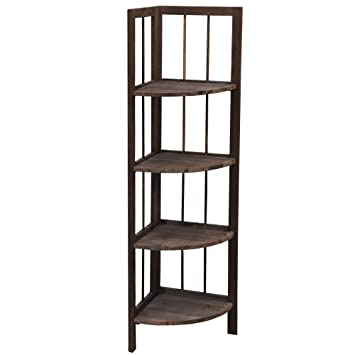 4 Tier Fordable Pine Wooden Corner Shelf Storage Unit Bathroom Living Room  Shelves Rack, Brown Part 43