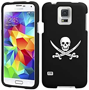 Samsung Galaxy S5 Snap On 2 Piece Rubber Hard Case Cover Jolly Roger Pirate (Black)