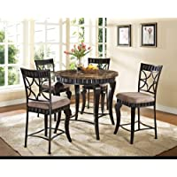 5 pc Galiana collection round brown marble top counter height dining table set with metal base
