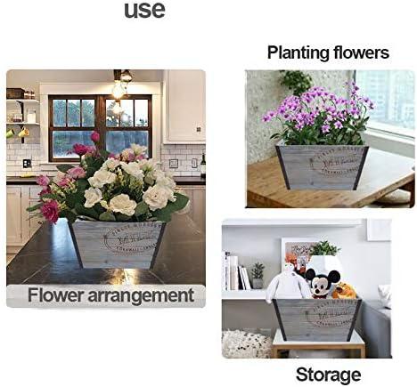 自然な木のプランター/長方形の植木鉢、素朴な植木鉢,Grey-38.2×30×23cm