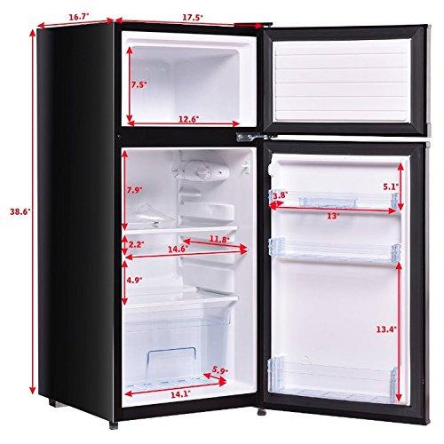 Black Double Doors Compact Mini Refrigerator 3.4 Cu. Ft. Adjustable Glass Shelf Freezer Compartment Cooler Fridge Home Kitchen Hotel Office Dorm Wet Bars Apartment Space Saving Appliance Sleek