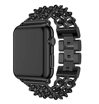 QIONGQIONG Iwatch Apple Watch Strap 38Mm / 42Mm Pulsera Reloj Inteligente Denim Chain Metal Aleación De Acero Inoxidable: Amazon.es: Deportes y aire libre