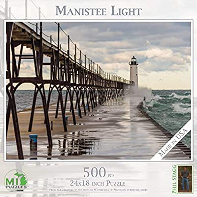 Manistee Light - 500 Piece MI Puzzles Jigsaw Puzzle: Toys & Games
