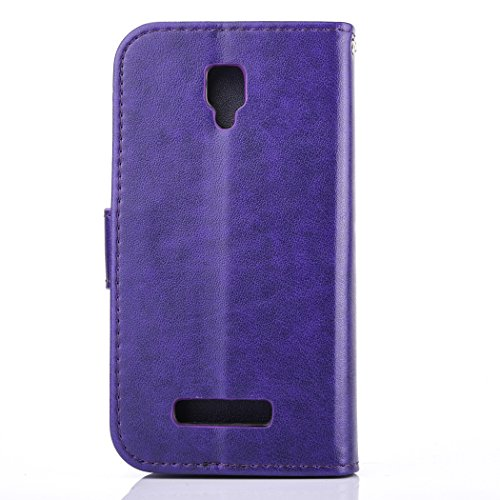 Lenovo A1000 Case, Lenovo A1000 Leather Case, Lenovo A1000 Wallet Case,Cozy Hut Retro Vintage Embossed Plum Blossoms Pattern Pu Bookstyle Strap Leather Wallet Flip Protective Case Cover with Stand and Purple