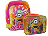 Bundle of 2: Despicable Me Backpack 16'' and Lunch Bag Love, Peace and Happiness