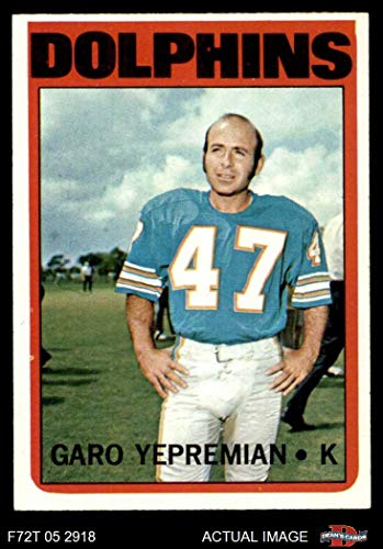 - 1972 Topps # 115 Garo Yepremian Miami Dolphins (Football Card) Dean's Cards 6 - EX/MT Dolphins