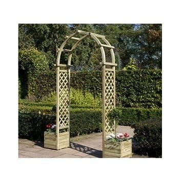 Wooden Garden Arch With Planter U2013 An Arch, A Garden Planter With  Lattice/Trellis