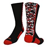 TCK Digital Camo Crew Socks (Black/Red, Large)