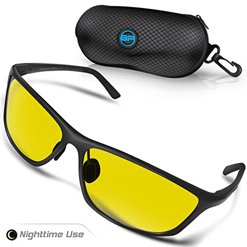 BLUPOND Night Driving Glasses for Men/Women - Semi Polarized Yellow Tint HD Vision Anti Glare Lens - Unbreakable Metal Frame - Rally