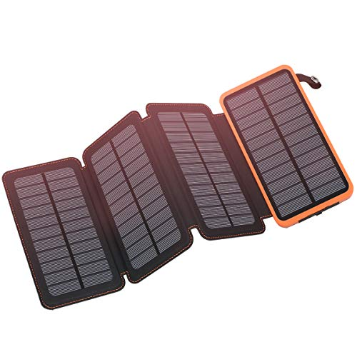 Solar Charger 25000mAh, FEELLE Solar Power Bank with 4 Solar Panels Outdoor Waterproof Solar Phone Chargers with Dual 2.1A USB Ports for Smart Phone, Tablets, Camera, ect. (Best Cell Phone For Backpacking)